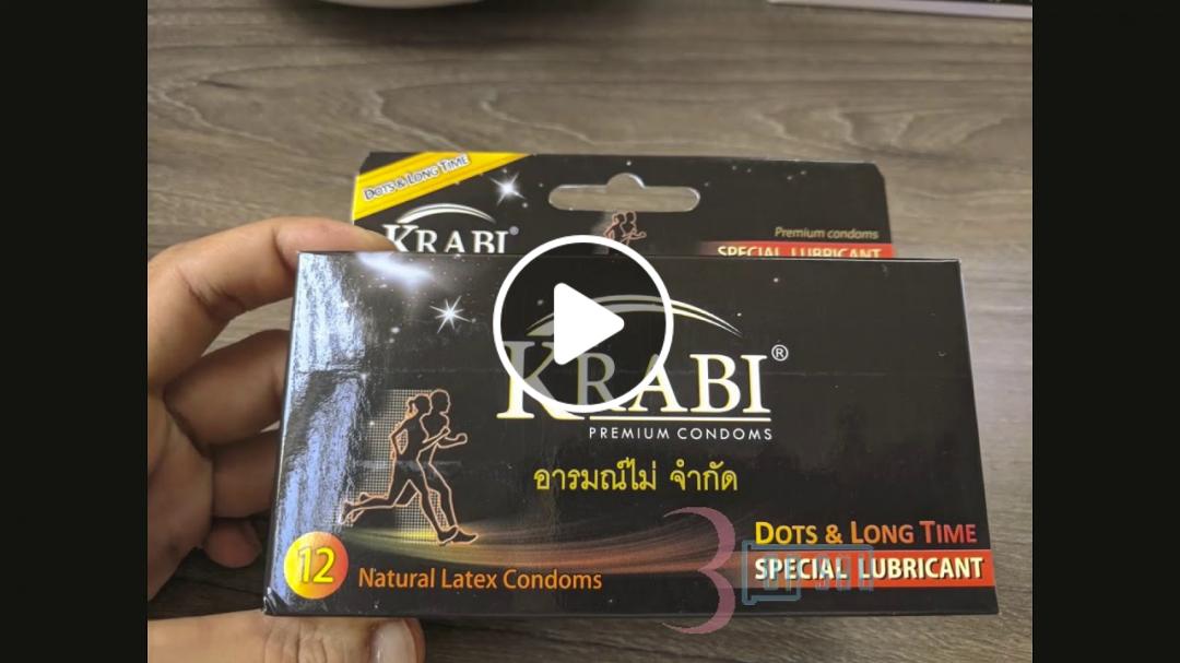 Hộp 12 Bao cao su Krabi có gai và kéo dài thời gian Dots and Longtime Krabi Premium