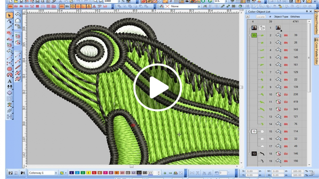 How to digitize Frog Embroidery Design Effect way ? Wilcom e2 and e3,
